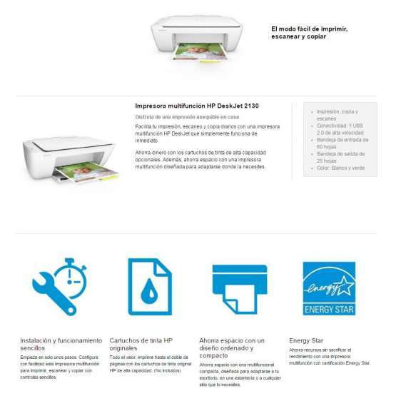 Impresora Multifunci 243 Hp Deskjet 2130 Electrodomesta